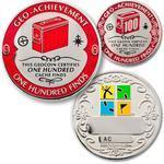100 Finds Geocoin + odznak + krabička