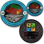 100 Hides Geocoin + odznak + krabička