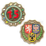 15 Years of Geocaching in Czech Republic Geocoin - Antique Bronze