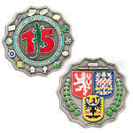 15 Years of Geocaching in Czech Republic Geocoin - Antique Silver