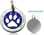 Cacher's Dog Geocoin Polished Silver BLUE