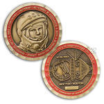 Gagarin - First Man In Space Geocoin - Antique Gold