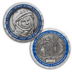 Gagarin - First Man In Space Geocoin - Antique Silver