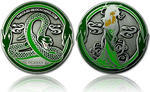 Green Mamba Geocoin - Antique Silver