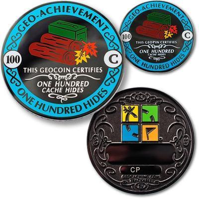100 Hides Geocoin + odznak + krabička - 1