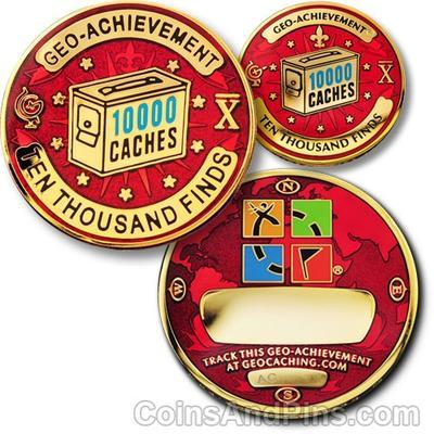 10000 Finds Geocoin + odznak + krabička - 1