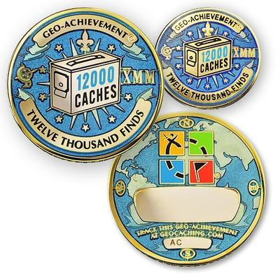 12000 Finds Geocoin + odznak + krabička