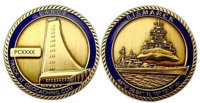 Bismarck Geocoin Antique Gold