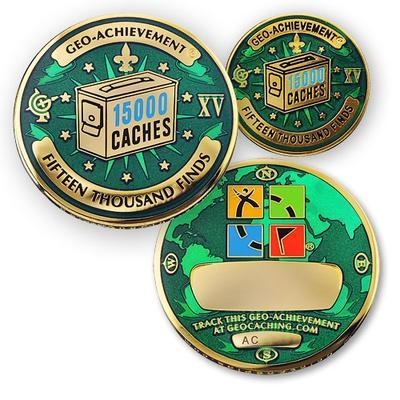 15000 Finds Geocoin + Pin + Box