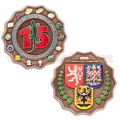 15 Years of Geocaching in Czech Republic Geocoin - Antique Copper