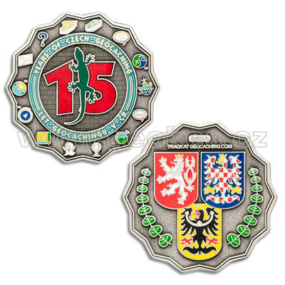 15 Years of Geocaching in Czech Republic Geocoin - Antique Silver - 1