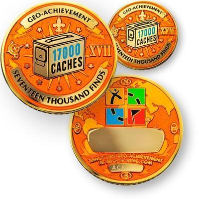 17000 Finds Geocoin + odznak + krabička - 1