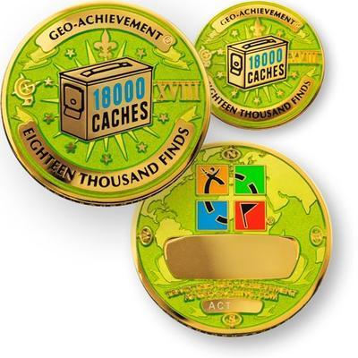 18000 Finds Geocoin + Pin + Box - 1