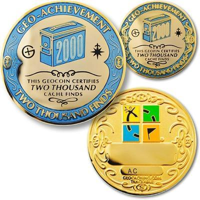 2000 Finds Geocoin + Pin + Box - 1