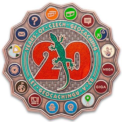 """Geocoin """"20 Let Geocachingu v ČR"""" - LE Antique Copper - 1"""