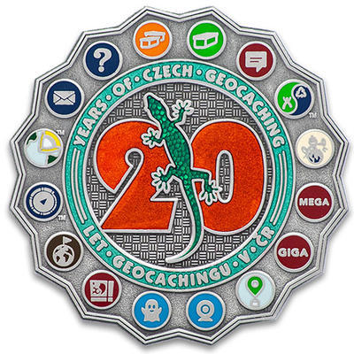 "Geocoin ""20 Let Geocachingu v ČR"" - Antique Silver - 1"