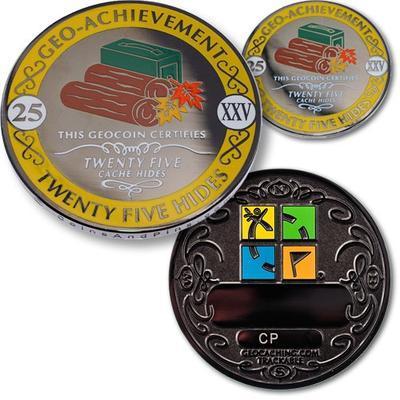 25 Hides Geocoin + odznak + krabička - 1