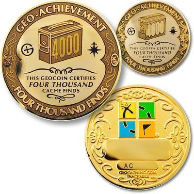 4000 Finds Geocoin + odznak + krabička - 1