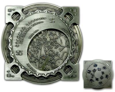 Star Map XXXXL Geocoin Antique Silver Blue - 1