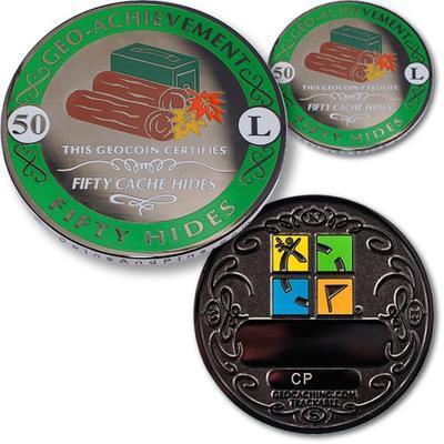 50 Hides Geocoin + odznak + krabička - 1