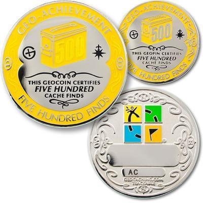 500 Finds Geocoin + odznak + krabička - 1