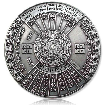 50 Years Calendar XXXL Geocoin Antique Silver - 1
