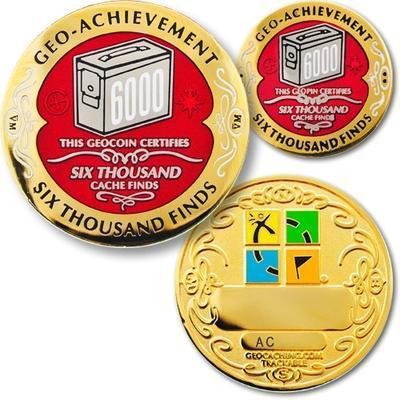 6000 Finds Geocoin + odznak + krabička - 1