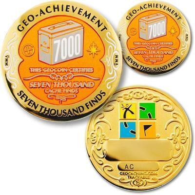 7000 Finds Geocoin + odznak + krabička - 1