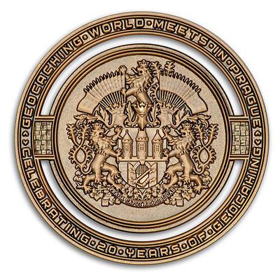 2020 GIGA Prague geocoin - Antique Gold - 1