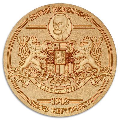 """Geocoin """"1918 - Vznik republiky / Zánik monarchie"""" - Satin Gold LE - 1"""