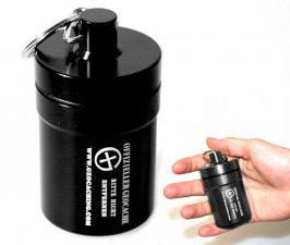 Small geocache - aluminium container BLACK - 1