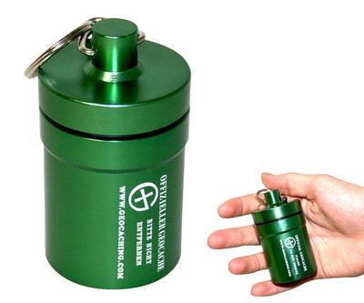 Small geocache - hliníkové vodotěsné pouzdro zelené - 1
