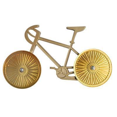 Cyklistický geocoin - Satin Nickel Bike Gold Wheels - 1