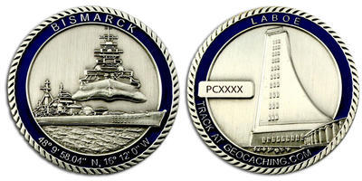 Bismarck Geocoin Antique Silver