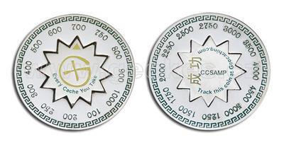 Cache Counter Geocoin - stříbrný
