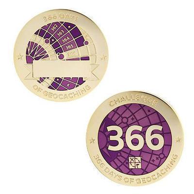 366 Days Milestone Geocoin + travel tag - 1