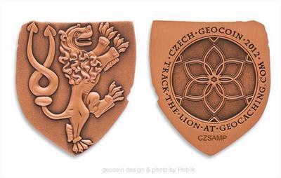 Český lev Czech 2012 Geocoin - Antique Copper