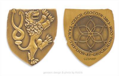 Český lev Czech 2012 Geocoin - Antique Gold
