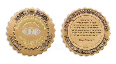 Enigma Geocoin Antique Gold
