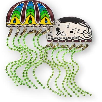 Jellyfish Geocoin - Zelená medúza