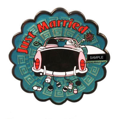 Just Married svatební geocoin - Black Nikl - 1