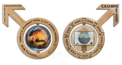 Caching on the Mars Geocoin Antique Gold - 1