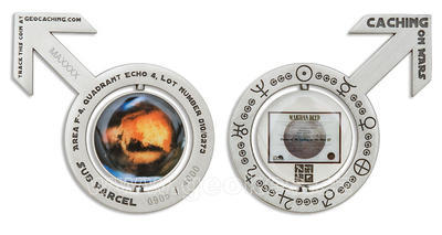 Caching on the Mars Geocoin Antique Silver - 1
