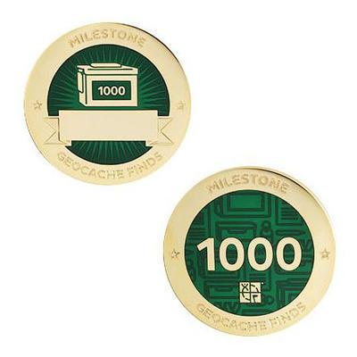 1.000 Finds Milestone Geocoin + travel tag - 1