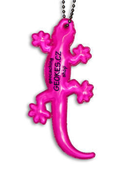Reflexní přívěsek ještěrka, Růžová