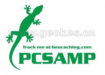 Velká trackable samolepka - ještěrka zelená
