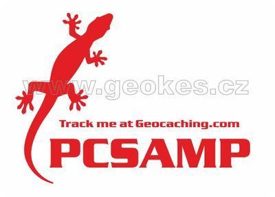 Velká trackable samolepka - ještěrka červená