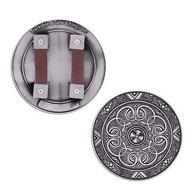 Cache Warrior Shield Geocoin- Antique Silver