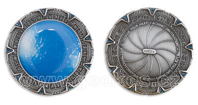 SpaceGate Geocoin - Antique Silver - 1