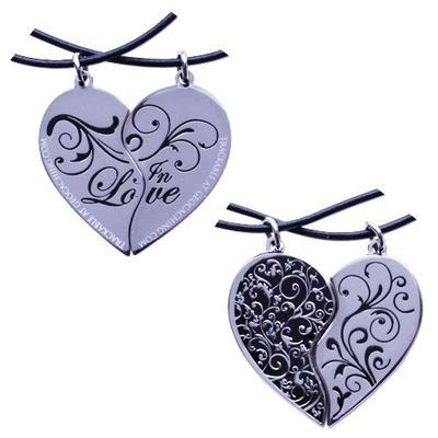 Two Hearts in Love Geocoin Set - Silver/Black